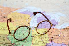 Glasses on a map of USA - Illinois Stock Photos