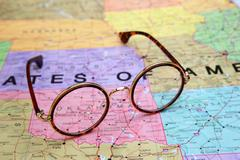 Glasses on a map of USA - Oklahoma - stock photo