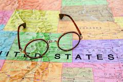 Glasses on a map of USA - Colorado - stock photo