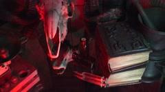 Satan's workbook, ram's skull - stock footage
