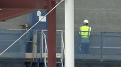 Construction worker on access platform. Stock Footage