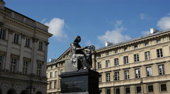 Time lapse from the Nicolaus Copernicus Monument in Warsaw Poland Stock Footage