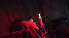 Satan worshiping, rams skull Satanism - stock footage