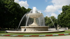Fountain at the The Saxon Garden in Warsaw Poland Stock Footage