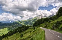 Amazing landscape over the Pyrenees mountains in Spain - stock photo