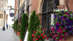 Flowers at the Old Town Market Place in the Historic Centre of Warsaw Poland Stock Footage