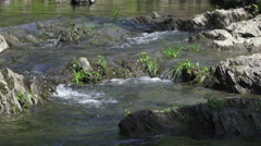 Water Flowing Over Rocks And Grass Ottauquechee River Vermont Stock Footage