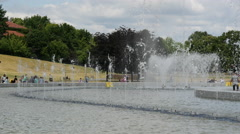 Multimedia Fountain Park in Warsaw Poland Stock Footage