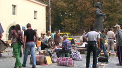 People looking around in book market in Lviv Stock Footage
