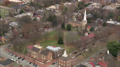 AERIAL United States-Town Green And Statue Of William Penn Stock Footage