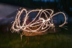 Sparkler Firecracker Fourth of July Girl Stock Photos