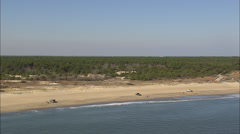 AERIAL United States-Fishermen On Beach In Cape Henlopen State Park Stock Footage