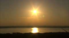 AERIAL United States-Sunset Over Roanoke Island Stock Footage