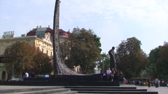 Monument of Taras Shevchenko in Lviv Stock Footage