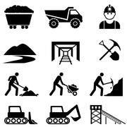 Mining and miner icon set - stock illustration