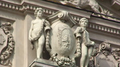 Sculptures on the facade of Lviv Opera House Stock Footage
