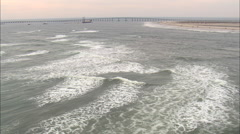 AERIAL United States-Fishing Off Bodie Island Beach Stock Footage