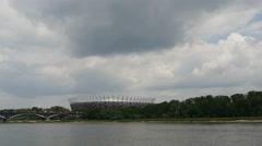 Time lapse of the Poniatowski Bridge and the National Stadium Warsaw in Poland Stock Footage