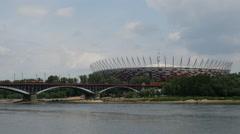 The Poniatowski Bridge and the National Stadium Warsaw in Poland Stock Footage