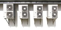 Air conditioning system assembled on a wall. Stock Photos