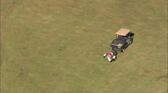 AERIAL United States-Flight Revealing Golf Course From Buggy On Fairway Stock Footage