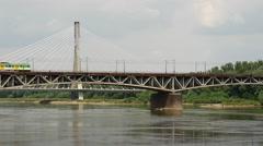 Train at the Poniatowski Bridge in Warsaw Poland Stock Footage