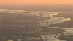 AERIAL United States-Approaching Wilmington At Sunset Stock Footage