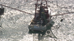 AERIAL United States-Shrimp Boat At Sea With A Mass Of Birds Stock Footage