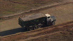 AERIAL United States-Rubbish Dump Trucks Stock Footage