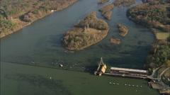 AERIAL United States-Flight Towards Lock On Savannah River Stock Footage