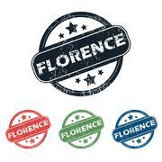 Round Florence city stamp set - stock illustration