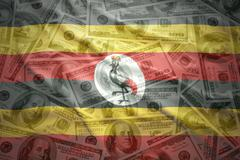 colorful waving ugandan flag on a american dollar money background - stock photo