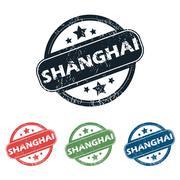 Round Shanghai city stamp set Stock Illustration