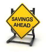 Road sign - savings ahead - stock illustration