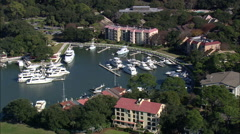 AERIAL United States-Harbour Town On Hilton Head Island Stock Footage
