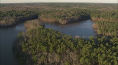 AERIAL United States-Indian Springs State Park And Chief Mcintosh Lake Stock Footage