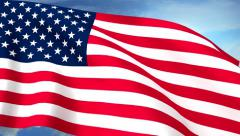 USA US Flags Closeup Waving Against Blue Sky CG Seamless Loop 4K Stock Footage