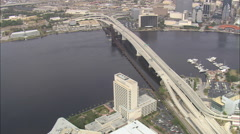 AERIAL United States-Three Bridges Across St Johns River At Jacksonville Stock Footage