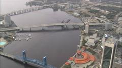 AERIAL United States-Three Bridges Across St Johns River At Jacksonville Stock Footage
