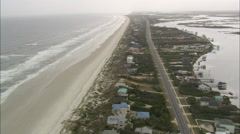 AERIAL United States-Flight From Low Over Sea To Reveal Beach Houses Stock Footage