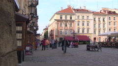 Pan on Western side of Market Square in central Lviv Stock Footage