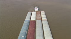 AERIAL United States-Tug And Barges On Mississippi Near Vicksburg Stock Footage
