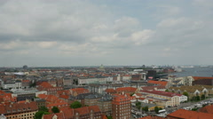 Copenhagen City Skyline and Harbour Stock Footage