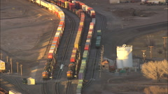AERIAL United States-Belen Freight Yard Stock Footage