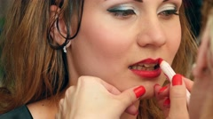 Stock Video Footage of Model making-up for photo session