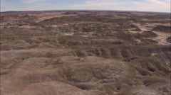 AERIAL United States-Weathered Rock Formation In Petrified Forest National Park Stock Footage