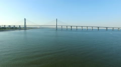 Aerial from the Vasco da Gama Bridge in Lisbon Portugal Stock Footage