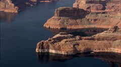 AERIAL United States-Rock Shapes Around Lake Powell Stock Footage