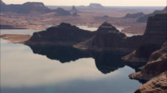 AERIAL United States-Sun, Clouds And Rock Reflections In Lake Powell Stock Footage