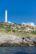 The white lighthouse of Santa Maria di Leuca, south Italy Stock Photos
